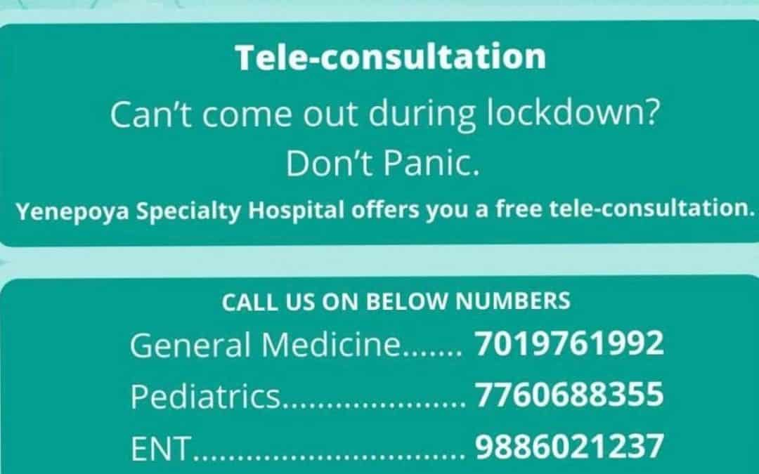 Tele-Consultations during this Pandemic for your Convenience and Safety