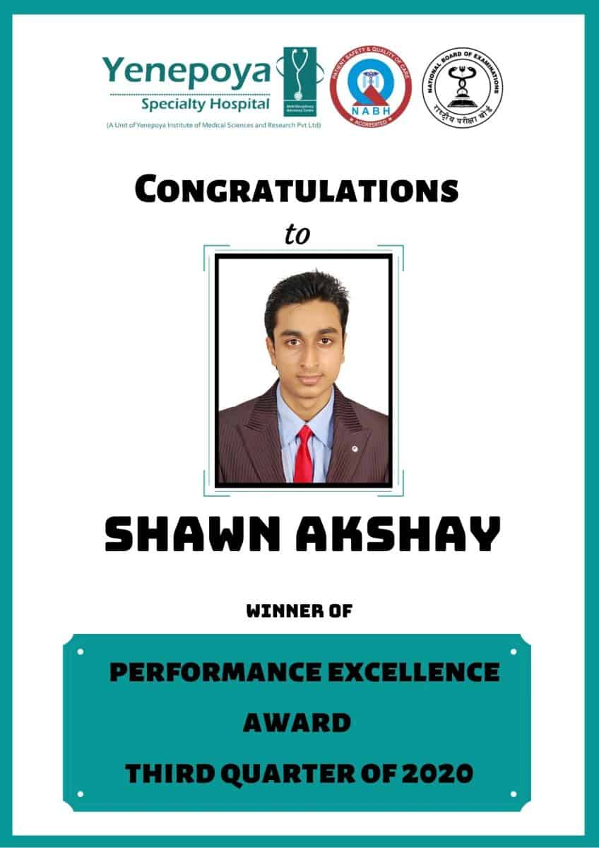Performance Excellence Award Third Quarter – 2020
