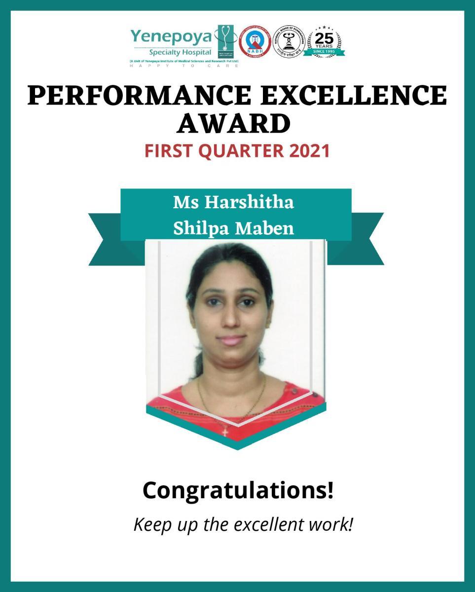 Performance Excellence Award First Quarter – 2021